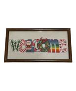 Christmas Crosstitch welcome sign Framed Santa candy cane Wreath Cross ... - $26.18