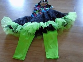 Child Size Medium Cicci Dance Costume Pantsuit Unitard w Tutu Skirt Gree... - $24.00