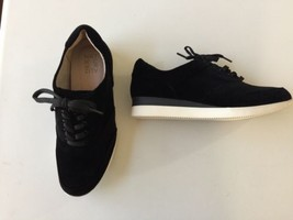 Naturalizer Jimi Wedge Fashion Comfort Sneakers Black Velvet Lace-up 9.5 WW US - $57.56 CAD