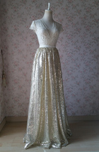 Gold Sequined Maxi Skirt High Waist Full Sequined Wedding Bridesmaid Maxi Skirts image 11