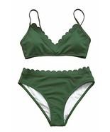 CUPSHE Women's Scalloped Trim in The Moment Bikini Small Green - $26.93