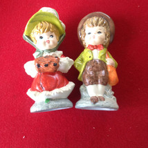 Vintage Christmas Dickens Character Muff girl knickers boy figurines Sri... - $17.50