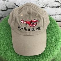 Portland ME. Boys One Sz Hat Beige Adjustable Lobster Baseball Cap 100% ... - $12.86