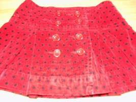 Girl's Size 5 Gap Kids Red Black Polka Dot Velour Pleated Mini Skirt EUC - $14.00