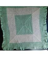 """AFGHAN Blanket BABY SOFT Handmade Crochet Pastel Green & White 33"""" x 36""""... - $34.49"""