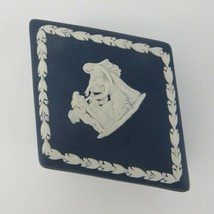Vtg Wedgwood Portland Blue Jasperware Cupid As Oracle Trinket Box Diamond Shaped - $39.59