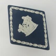 Vtg WEDGWOOD Portland Blue JASPERWARE Cupid As Oracle Trinket Box Diamon... - $39.59