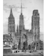 FRANCE Rouen Main Square & Cathedral - SUPERB 1843 Antique Print - $39.60