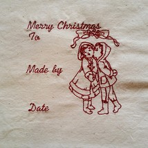 Embroidered Quilt Label Block Christmas Redwork Vintage Style Girl Boy q100 - $8.79