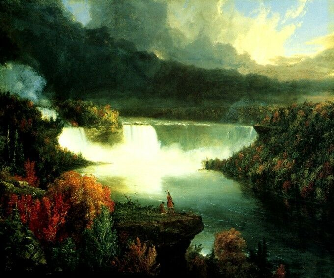 NIAGARA FALLS INDIANS CONTEMPLATING WATERFALL 1830 PAINTING BY THOMAS COLE REPRO - $10.96 - $75.65