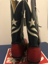 VTG Tony Lama Boots Z0260 Red Majestic Navy Delegance size 6 1/2 B with Tag image 4