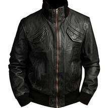 Mens Motorcycle 4 Pockets Ribbed High Collar Black Biker Bomber Leather Jacket image 1