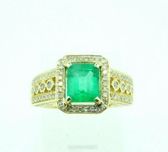 10k Gold 1.62ct Genuine Natural Emerald Ring with 1/4ct Diamonds (#J2604) - $2,095.00