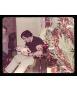 Teenage Boy Cradles Baby Doll Christmas Tree Decorations 1976 Vintage Photo - $12.99