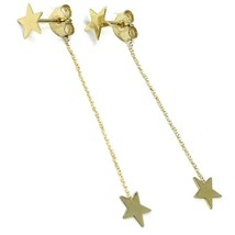 18K YELLOW GOLD PENDANT EARRINGS FLAT DOUBLE STAR, SHINY, SMOOTH, ROLO CHAIN image 2