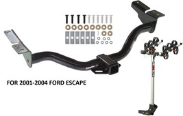 2001-2004 FORD ESCAPE TRAILER HITCH + COMPLETE ROLA 3-BIKE RACK CARRIER ... - $369.05