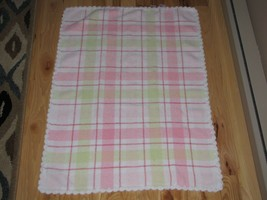 Baby Starters Pink White Green Plaid Chenille Scallop Girl Blanket - $39.59