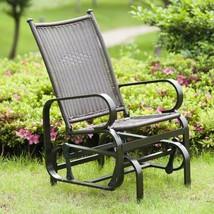 Patio Glider Rocking Chair Rocker Lounge Aluminum Wicker Brown Black Gar... - €110,39 EUR