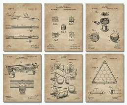 "6 Billiards Patent Wall Art Prints - 8""x10"" - Snooker Pool Game Room Dec... - $15.95"