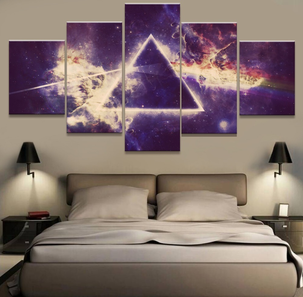 Framed 5 piece pink floyd rock band music painting poster for Rock home decor