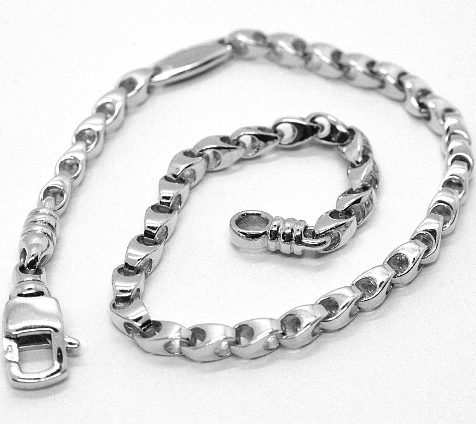 SOLID 18K WHITE GOLD BRACELET, 21 CM, 8.3 INCHES, 3 MM DROP TUBE LINK, POLISHED