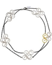 """Gurhan Vortex Yellow gold and Silver S Shape Tri Tonal long Necklace 41""""... - $610.00"""