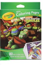Crayola Ninja Turtles 80 Mini Coloring Pages With 6 Washable Markers Set... - $6.79