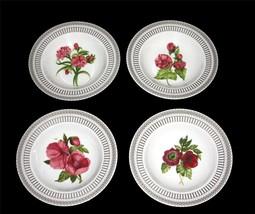 4 SAVINIO Fleur De Rouge Floral & Gold Accents Wide Rimmed Soup Bowls NWT $100 - $62.99