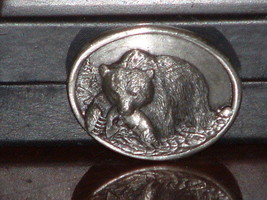 Pre-Owned 1983 Small Silver Tone Siskiyou Bear Fishing Belt Buckle - $11.88