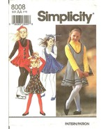 Simplicity 8008 Girls' Jumper, Jumpsuit, Top & Headband Pattern 7,8,10 U... - $10.47