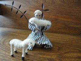 World YWCA Shepherd Man w Sheep Figures Aqabat Jaber Refugee Camp Jerich... - $123.67