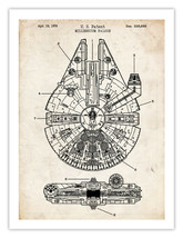 "STAR WARS MILLENNIUM FALCON POSTER 1979 PATENT PRINT 18X24"" THE FORCE AR... - $19.80"