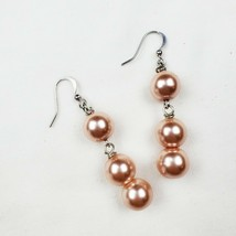 Dangle Earrings Pink Faux Pearls Silver Tone Beaded Handmade Jewelry - $8.99