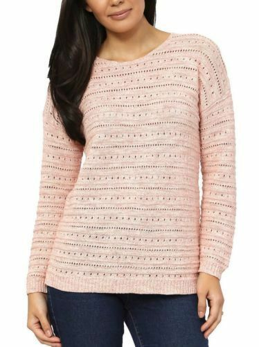 NEW Women's Leo & Nicole Ladies' Pointelle Sweater Pueblo Rose