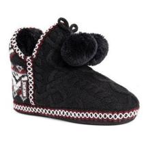 MUK LUKS Womens Amira Black Faux Fur Pom Pom Slipper Boots Bootie Medium 7-8 - $30.00