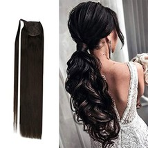 YoungSee 14inch Ponytail Clip in Human Hair Extesnions Color #2 Darkest ... - $35.24