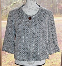Talbots Size 12 Single Button Brown & White Stretch 3/4 Sleeve Jacket Ca... - $18.99