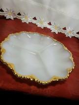 """VINTAGE Anchor Hocking Fire King Milk Glass GoldTrim Divided Serving Dish 9-1/2"""" image 2"""
