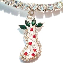 Anklet Stocking Clear Crystal Multicolor Charm Dangle Stretch 9 Inch Christmas - $21.99