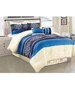 7-P Royal Floral Damask Scroll Pleated Stripe Comforter Set Navy Blue Iv... - $86.94