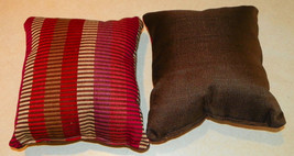 Pair of Red Beige Brown Print Throw Pillows  10 x 10 - $29.95