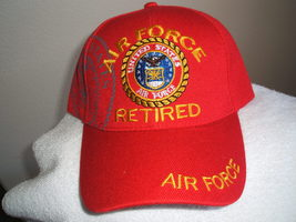 U S Air Force (Retired) Shadowed emblem on a Red ball cap  - $20.00