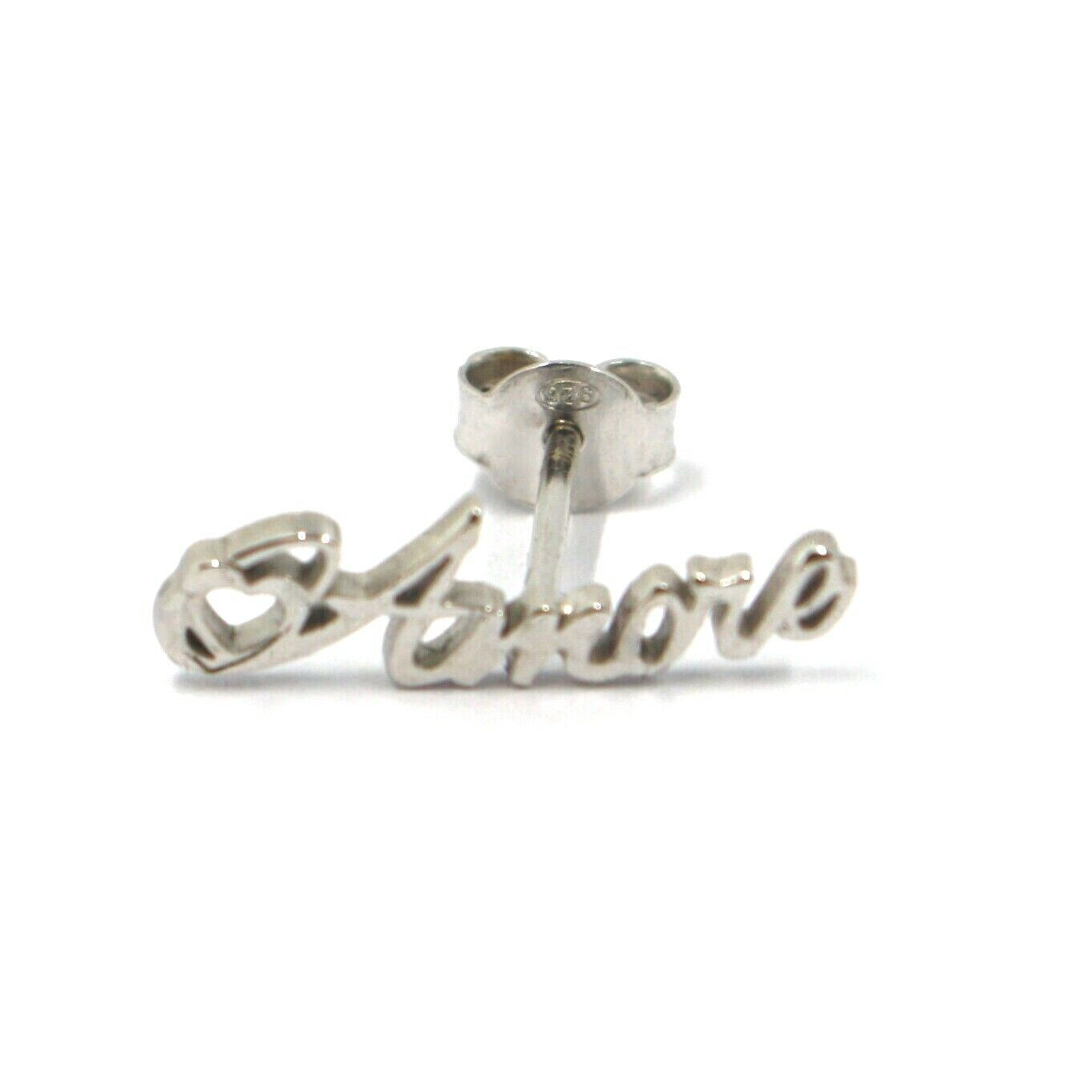 925 STERLING SILVER EARRINGS, WRITTEN AMORE, LOVE, HEART, MADE IN ITALY
