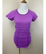 Athleta M Fastest Track T Tee Shirt Berry Purple Stripe Ruched Stretch M... - $19.99