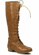 Cognac Brown Faux Leather Lace Up Knee High Tall Military Combat Boot Wild Diva - $16.99