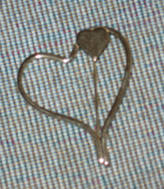 Sarah Coventry-Open Heart Pin- Double-Gold Tone- 1980's - $6.00