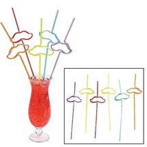 Plastic Flashy Stache Molded Straws (12 Pieces) 13""