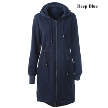 2017 Winter Long Hoodies Straight Drawstring Jackets Cotton Thick Size S-2XL image 4