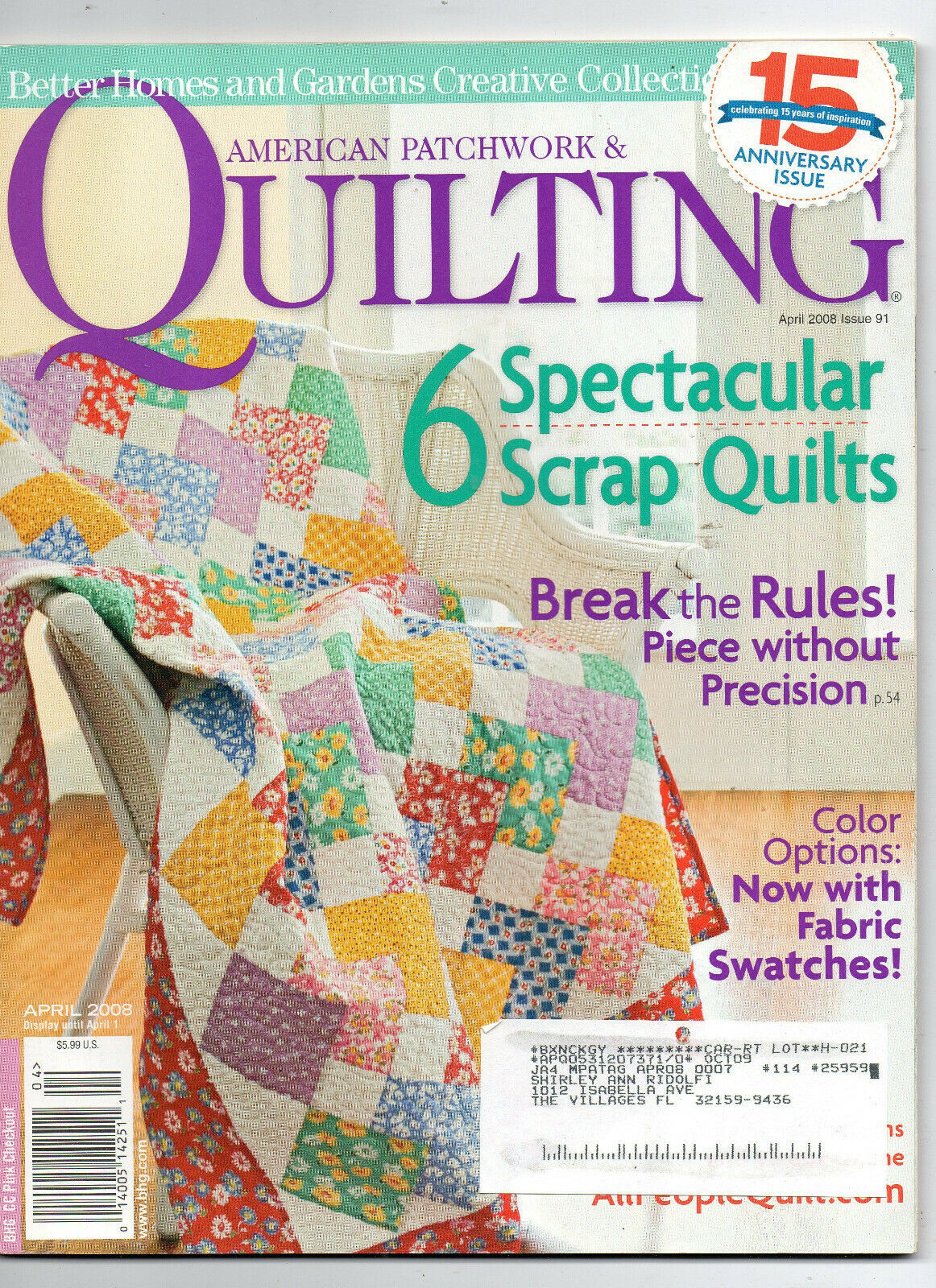 Primary image for April 2008/American Patchwork & Quilting/Preowned Craft Magazine