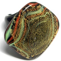 Ring Antica Murrina, Murano Glass, Black Green, Leaf Gold, Big Square image 1